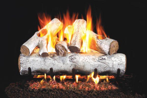 fireplace logs white birch